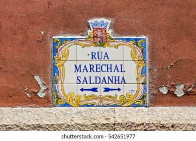 LISBON, PORTUGAL - JUNE 11, 2013: Beautiful typical plate with the name of street in Lisbon city, Portugal