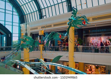 LISBON, PORTUGAL - JUNE 11, 2014: Interior of Colombo Center in Lisbon, which is largest shopping mall in Portugal.