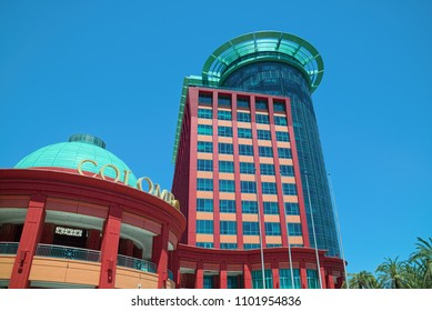LISBON, PORTUGAL - JUNE 11, 2014: Eastern Tower (Torre Oriente) and dome of main entrance of Colombo Center in Lisbon, which is largest shopping mall in Portugal and business center as well.