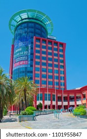 LISBON, PORTUGAL - JUNE 11, 2014: Western Tower (Torre Ocidente in Portuguese) of Colombo Center in Lisbon, which is largest shopping mall in Portugal and business center as well.