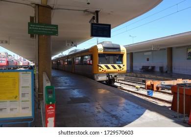 LISBON, PORTUGAL - JUNE 11, 2019: CP Urbano train at Santa Apolónia railway station in Lisbon, Portugal
