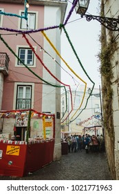 LISBON, PORTUGAL - JUNE 12, 2014: Festival of Santo Antonio in Lisbon, streets of old town of Lisbon decorated for the celebration
