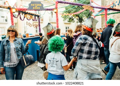 LISBON, PORTUGAL -  JUNE 12, 2015:  people in the street  during the Saint Anthony Feast in Lisbon