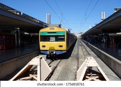 LISBON, PORTUGAL - JUNE 12, 2019: CP Urbano train at Cais do Sodré railway station in Lisbon, Portugal