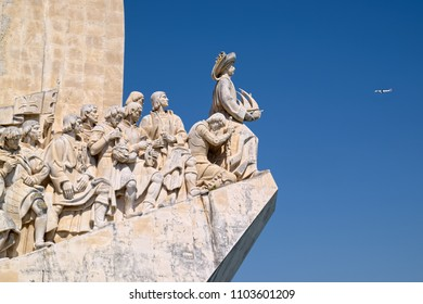 LISBON, PORTUGAL - JUNE 14, 2014: Sculptural group on western side of Monument of the Discoveries (Padrao dos Descobrimentos in Portuguese), located in Lisbon, Portugal.