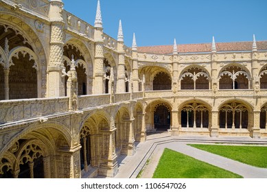 LISBON, PORTUGAL - JUNE 14, 2014: Two-storey cloisters of Jeronimos Monastery (Mosteiro dos Jeronimos), built in 1601 in Lisbon - example of Late Gothic Manueline style of Portuguese architecture.