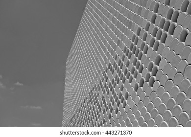 LISBON, PORTUGAL - JUNE 16, 2015: Exterior detail of the facade of the Lisbon Oceanarium, Portugal