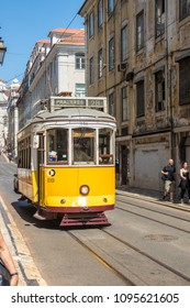 Lisbon, Portugal - June 18, 2017: Typical and colourful Lisbon trams. They are used daily by both tourists and city dwellers and are the preferred means of transport for Lisbon residents.