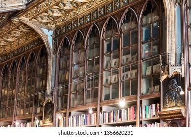 Lisbon / Portugal - June 2015: Harry Porter library, bookstore in Lisbon, Portugal. Books. Famous tourist destination
