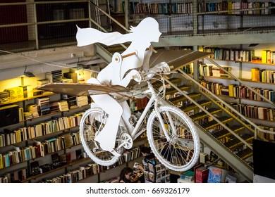 "LISBON, PORTUGAL - June 2017 - Bookshop ""Livraria Ler Devagar"" in the LX factory"