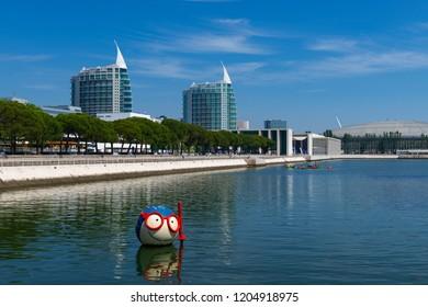 Lisbon, Portugal - June 23, 2018: View of the Parque das Nacoes (Parque das Nações) in the city of Lisbon, in Portugal.
