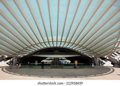 LISBON, PORTUGAL - JUNE 28: Futuristic architecture of Gare do Oriente (Orient Station). Thie building was designed by Santiago Calatrava and built by Necso. June 28, 2010 in Lisbon, Portugal