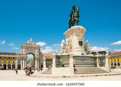 LISBON, PORTUGAL, - JUNE, 3, 2019:   The statue of King Jose in front of Rua Augusta Arch on Commerce Square (Praca do Comercio) in Lisbon, Portugal.
