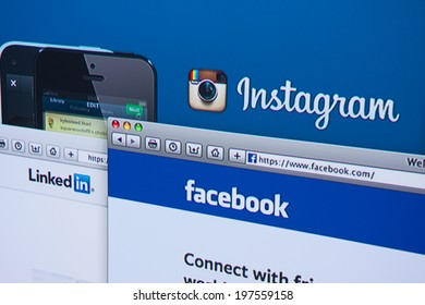 LISBON, PORTUGAL - JUNE 4, 2014: Photo of Instagram, Facebook and LinkedIn homepage on a monitor screen.