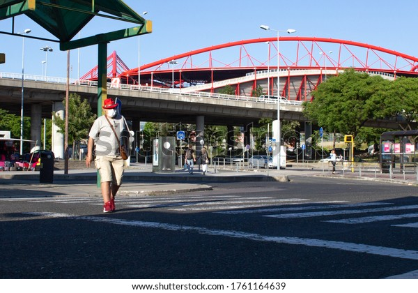 LISBON, PORTUGAL - JUNE 4: People are seen in a restaurant near the Estadio Da Luz in Lisbon, on June 4, 2020.