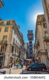 LISBON, PORTUGAL - JUNE 4: Santa Justa Lift in Lisbon, Portugal on June 4, 2016. Lisbon is the capital and the largest city of Portugal.