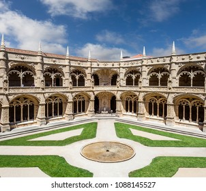 Lisbon, Portugal - June 6, 2013: Cloister of the Jeronimos Monastery or Abbey in Lisbon, Portugal, aka Santa Maria de Belem monastery. UNESCO World Heritage it Masterpiece of the Manueline art.