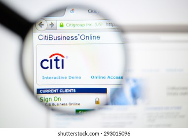 LISBON, PORTUGAL - June 6, 2015. Photo of CITI homepage on a monitor screen through a magnifying glass.
