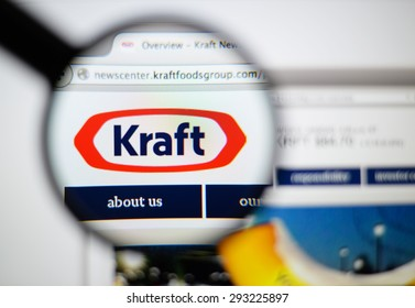LISBON, PORTUGAL - June 6, 2015. Photo of Kraft Foods homepage on a monitor screen through a magnifying glass.