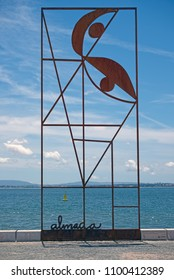 LISBON, PORTUGAL - JUNE 9, 2014: Monument in honour of Portuguese artist Jose Sobral de Almada Negreiros. Installed in 2014 in Lisbon at waterfront of Tagus river.