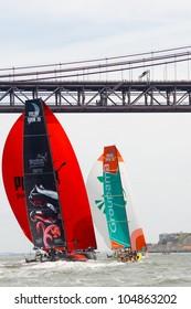 LISBON, PORTUGAL - JUNE 9: Puma Ocean Racing Powered by Berg Propulsion in Volvo Ocean Race - Lisbon StopOver  - Harbour Race June 9, 2012 in Lisbon, Portugal