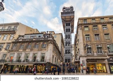 LISBON, PORTUGAL - MARCH 03, 2017:  View of the Santa Justa Lift (Elevador de Santa Justa) in central Lisbon, Portugal