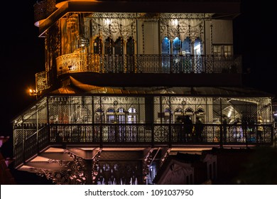 LISBON, PORTUGAL - MARCH 03, 2017:  View at night of the Santa Justa Lift (Elevador de Santa Justa) in central Lisbon, Portugal