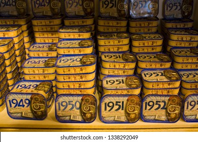 LISBON, PORTUGAL - March 1, 2019: Colorful canned sardines in local specialised sardine store in Lisbon