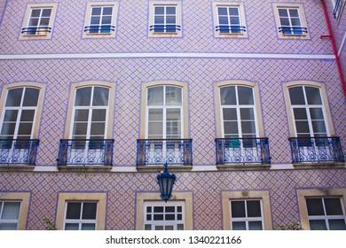 LISBON, PORTUGAL - March 1, 2019: Courtyard of St. Christopher Clinic (Sao Cristovao Palace or Palácio Vagos) in Lisbon