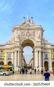 Lisbon, Portugal - March 12, 2015: Arco da Rua Augusta,  triumphal arch on the Palace Square