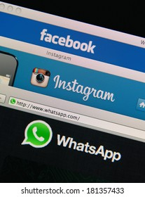 LISBON, PORTUGAL - MARCH 13, 2014: Photo of Facebook, Instagram and Whatsapp homepage on a monitor screen  Facebook owns Instagram and Whatsapp.