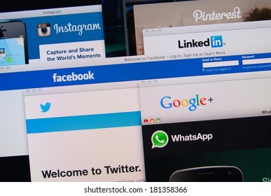 LISBON, PORTUGAL - MARCH 13, 2014: Photo of Pinterest, Twitter, Facebook, Google+, Linkedin, Whatsapp and Instagram homepage on a monitor screen. These are popular social networking websites.