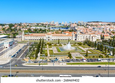 Lisbon, Portugal - March 13, 2015: View from the monument to the Discoveries on Belem with the  Jeronimos Monastery