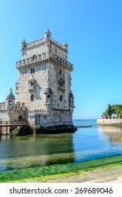 Lisbon, Portugal - March 13, 2015: Belem tower at the Tagus river