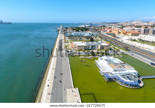 Lisbon, Portugal - March 13, 2015: View from the monument to the Discoveries on Belem and the Tagus river