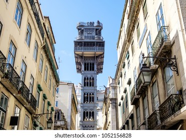 Lisbon, Portugal. March 13th 2018. The elevador de Santa Justa is Lisbon's neogothic cast iron viewpoint.