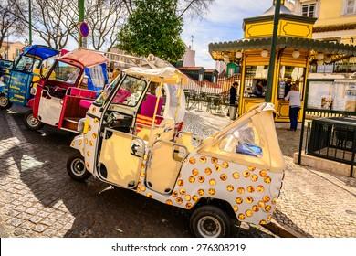 Lisbon, Portugal - March 14 2015:  Tuk Tuk taxi transport in Lisbon city
