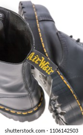 Lisbon, Portugal - March 16, 2010: Air Wair tag on a Dr. Martens black leather work boots with steel toe and military style. Illustrative editorial