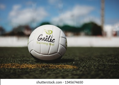 Lisbon, Portugal, March 17th 2019. Close up of Gaelic Football on pitch.