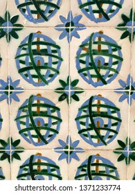 Lisbon / Portugal - March 19 2019: Full frame close up of tiled wall in Lisbon, Portugal