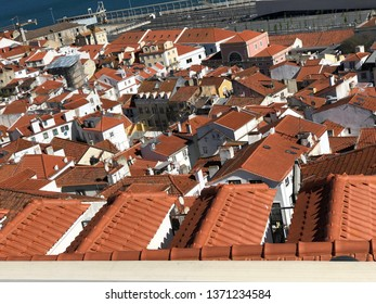 Lisbon / Portugal - March 19 2019: View across red rooftops in Lisbon, Portugal