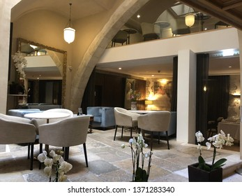Lisbon / Portugal - March 19 2019: Boutique hotel lobby in Lisbon, Portugal