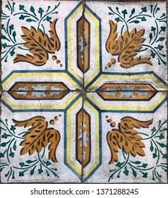 Lisbon / Portugal - March 19 2019: Full frame close up of ceramic tiles wall pattern in Lisbon, Portugal