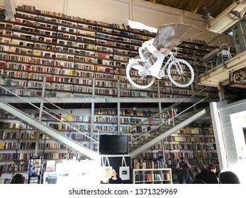 Lisbon / Portugal - March 19 2019: Interior of bookshop in LX Factory in Lisbon, Portugal