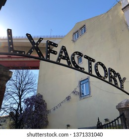 Lisbon / Portugal - March 19 2019: Entrance to LX Factory in Lisbon, Portugal