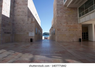 Lisbon / Portugal - March 21 2019:  Exterior of Centro Cultural de Belem under a bright clear blue sky