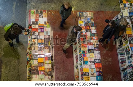 Lisbon, Portugal - March 26, 2017: People Shopping for books in LX Factory