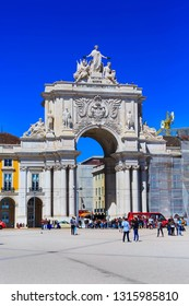 Lisbon, Portugal - March 27, 2018: Praca do Comercio or Commerce square with Rua Augusta Arch and people