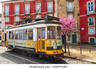 Lisbon, Portugal - March 27, 2018: Yellow tram, symbol of Lisbon at colorful downtown street and spring blossom tree