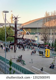 LISBON, PORTUGAL - MARCH 28, 2019: People waiting in line for Shawn Mendes concert at Altice Arena (Parque das Nações)